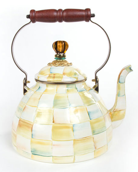 MacKenzie-Childs Parchment Check 3-Quart Tea Kettle