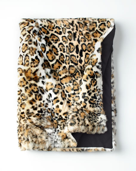 Jaguar-Print Fur Throw