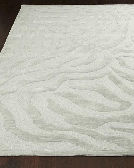 Silver Zebra Rug, 5' Round