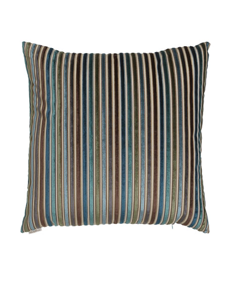 "Avery Teal Stripe Pillow, 24""Sq."