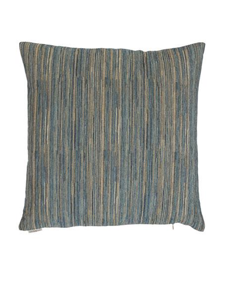 "Avery Aqua Fine-Stripe Pillow, 22""Sq."