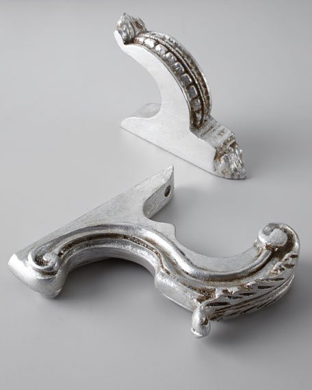 """Two Silver-Leaf-Finished """"Italian Renaissance"""" Finials"""