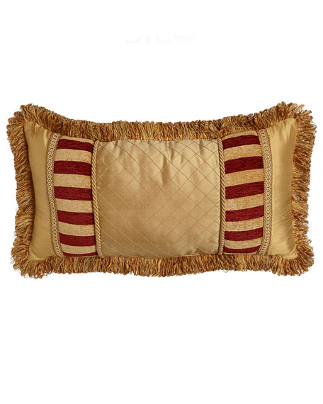 "Bellissimo Pieced Pillow with Fringe, 13"" x 24"""