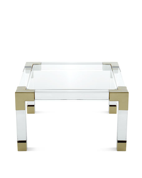 Jonathan Adler Jacques Lucite Brass Coffee Table