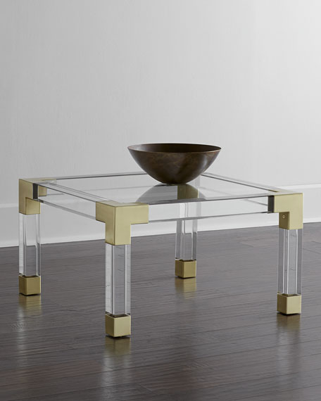 Jonathan adler jacques lucite brass coffee table for Lucite and brass coffee table