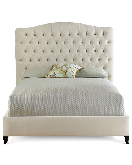 Harper Tufted Ivory Velvet California King Bed