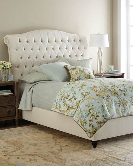 Harper Tufted Ivory Velvet Queen Bed