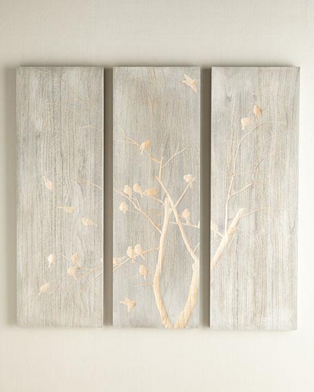 Three-Piece Willow & Bird Wall Panel