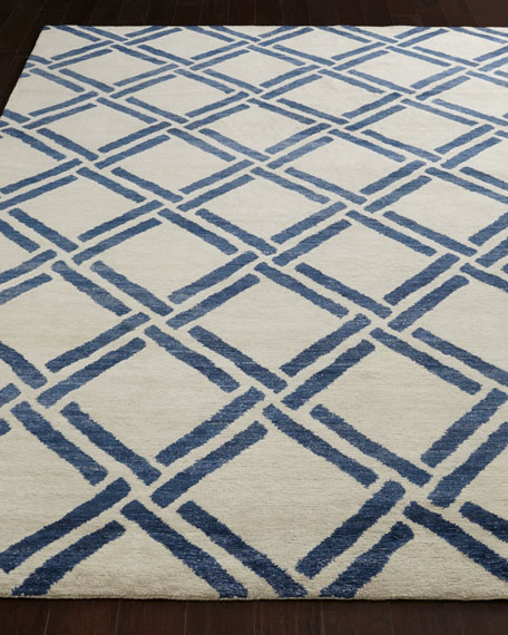 Navy Lattice Rug, 8' x 10'