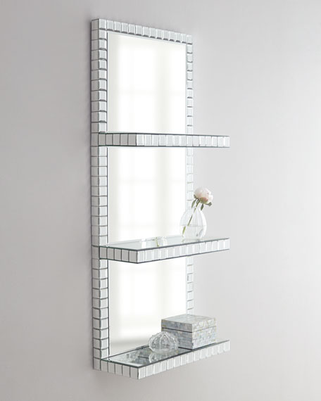 Mosaic Border Mirrored Shelf Wall Panel