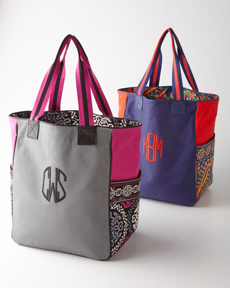 Large Monogrammed Colorblock Tote