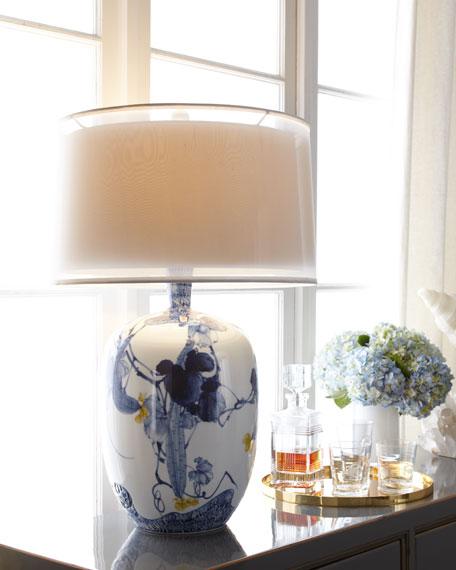 BLUE ASIAN GARDENS LAMP 31.5