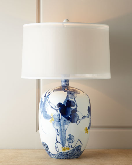 BLUE ASIAN GARDENS LAMP 31.5