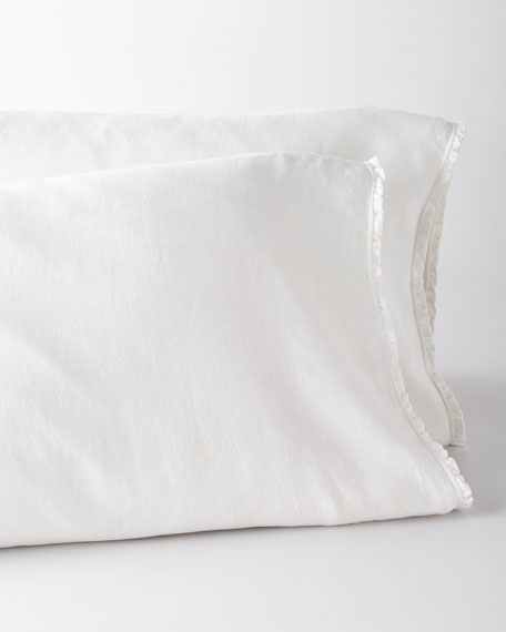 Two King Charlie Ruffled White Linen Pillowcases