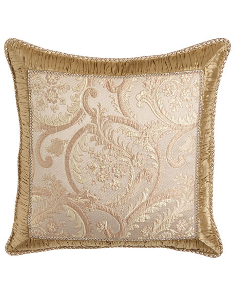 Kensington Garden Matelasse European Sham with Ruched Silk Frame