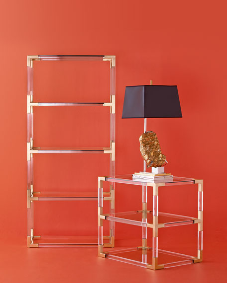 Jacques Acrylic & Brass Two-Tier Table