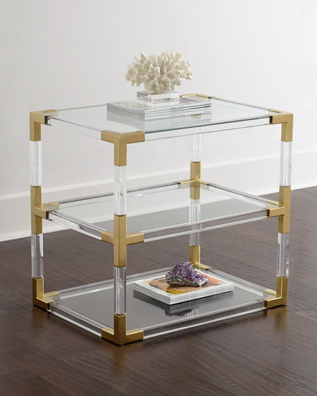 Jonathan Adler Jacques Acrylic & Brass Two-Tier Table