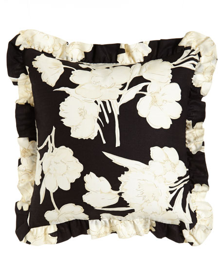 "Seville Ruffled Floral Pillow, 18""Sq."