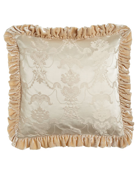 Le Creme Maison Damask European Sham with Velvet