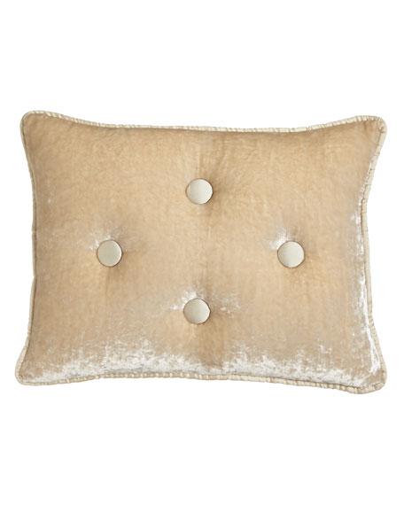 "Velvet Boudoir Pillow with Silk Dupioni Buttons & Piping, 12"" x 16"""