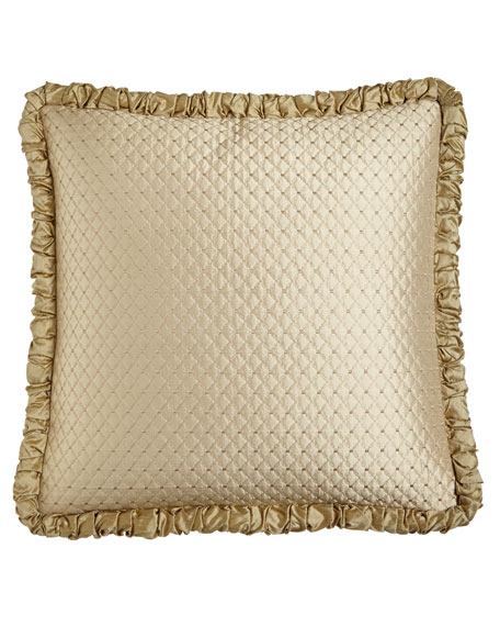 Antoinette Diamond-Stitch European Sham with Ruched Welt