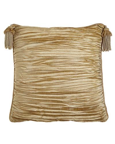 Antoinette Pleated Silk European Sham with Tassels