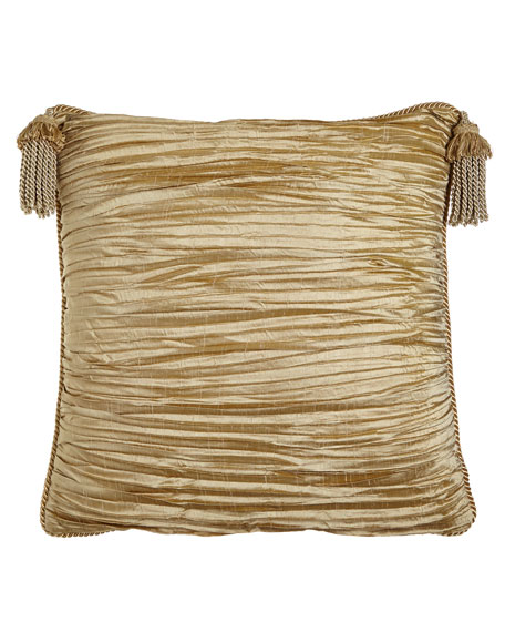 Antoinette Pleated Silk European Sham with Tassels