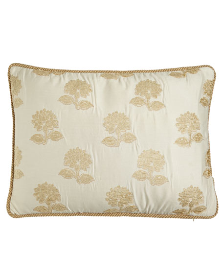 Standard Antoinette Sham with Chenille Flowers & Cord Trim