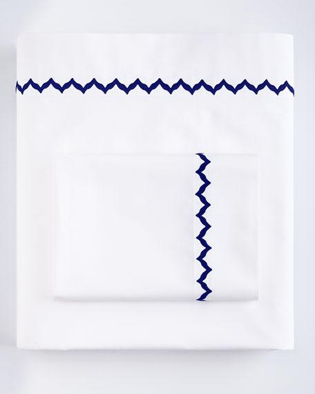 Standard White Sham with Navy Trim