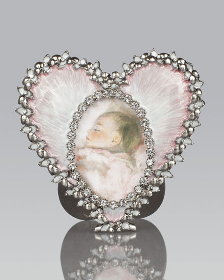 Pale Pink Oval & Heart Picture Frame