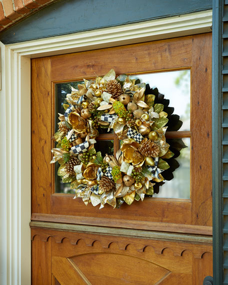"After Christmas Furniture Sales: MacKenzie-Childs Tuxedo 28"" Christmas Wreath"