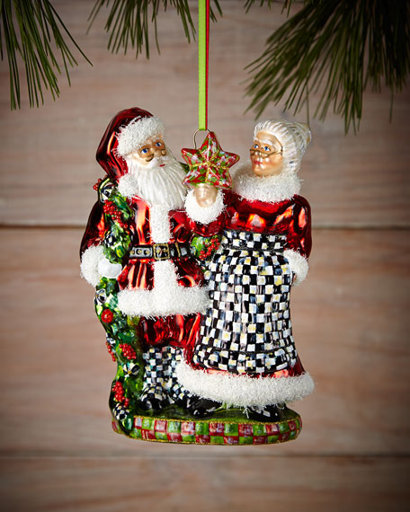 MacKenzie-Childs Mr. and Mrs. Claus Christmas Ornament