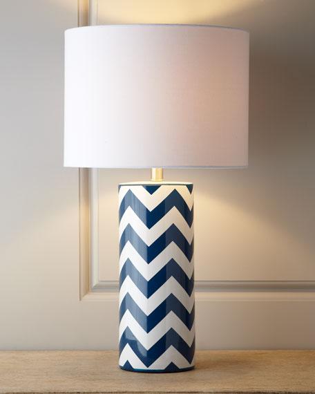 Blue Chevron Lamp