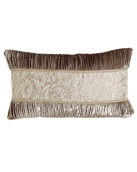 "French Chantilly Ruched Velvet Pillow with Lace Center, 15"" x 26"""