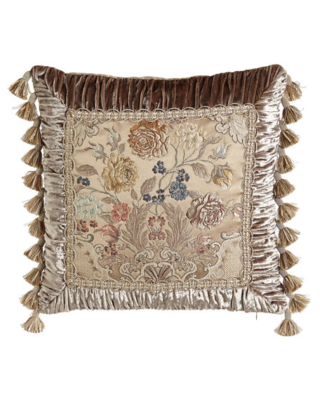 "French Chantilly Floral Brocade Pillow with Ruched Velvet Frame & Tassel Fringe, 20""Sq."
