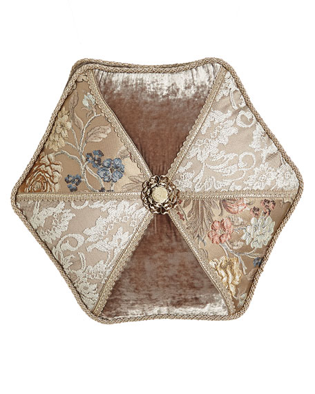 "French Chantilly Hexagonal Patch Pillow, 18""Dia."