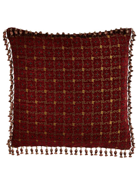 Scarlet Reversible European Sham with Beaded Onion Fringe