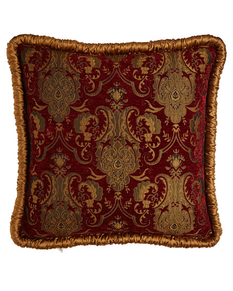Scarlet European Sham with Shirred Gold Welt