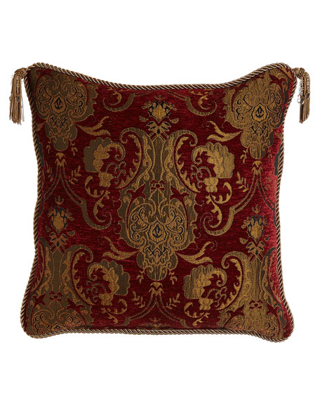 "Scarlet Reversible Pillow with Two Beaded Tassels, 20""Sq."