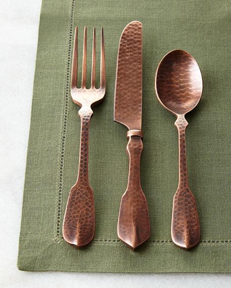 20 Piece Copper Hammered Flatware Service