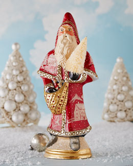 Red Father Christmas with Village Scene
