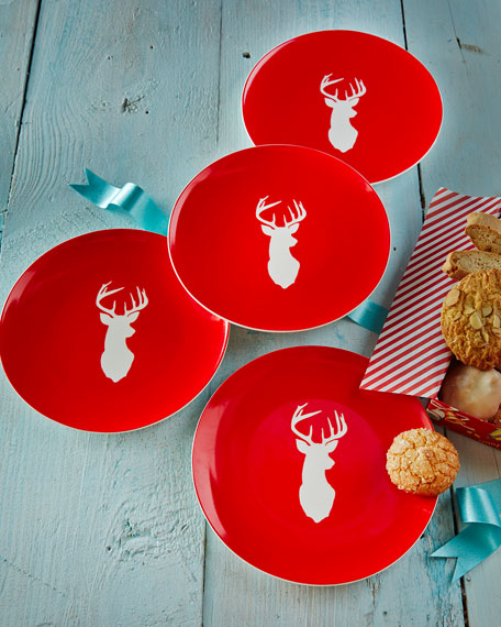 Four Stag Dessert Plates