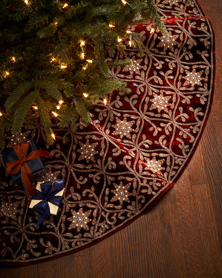 Sudha pennathur burgundy gold christmas tree skirt