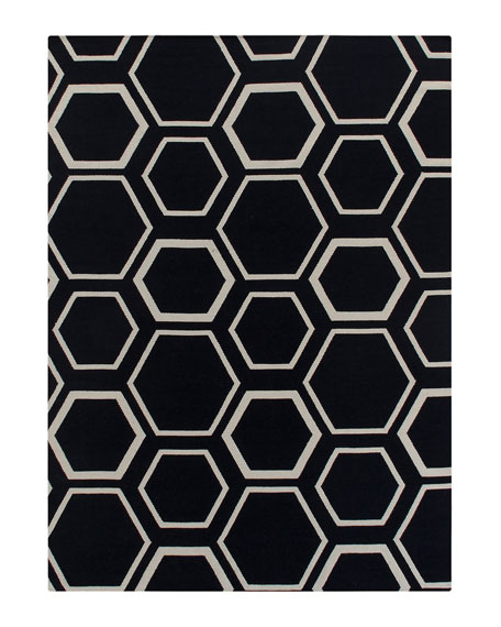 Black Honeycomb Rug, 5' x 8'