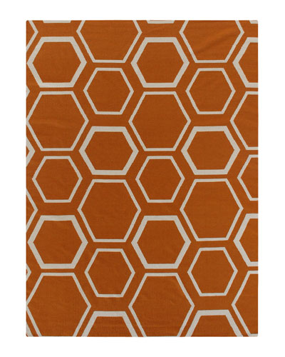 Orange Honeycomb Rug, 5' x 8'