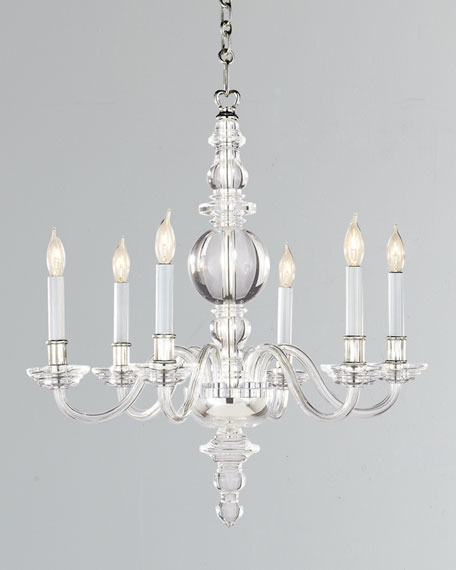 George II Small 6-Light Polished-Nickel Chandelier