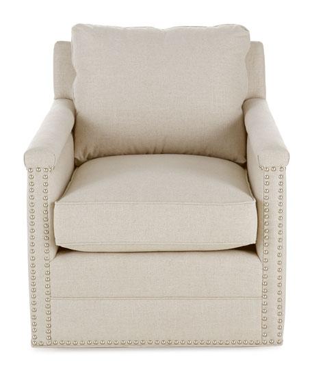 Avis St. Clair Linen-Texture Swivel Chair