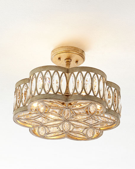 John-Richard Collection Diamante Six-Light Semi-Flush Ceiling Light