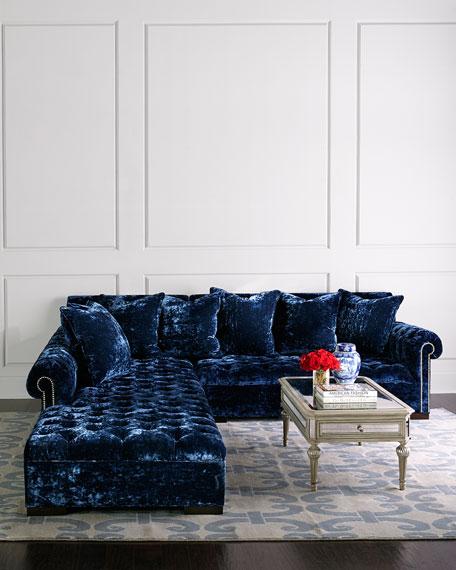 Divine Crushed Velvet Left Chaise Sectional