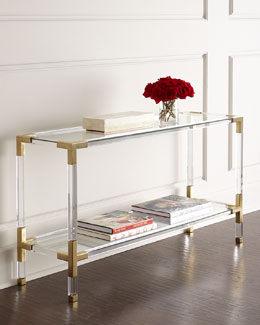 Jacques Lucite & Brass Console